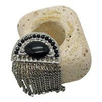 Bold Black Rhinestones Cabochon Vintage Silver Chain Brooch