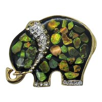 Adorable Mother of Pearl Rhinestone Figural Elephant Vintage Brooch