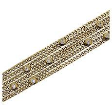 Signed Nolan Miller Vintage Cubic Zirconia Chain Bracelet FREE SHIPPING