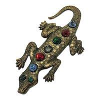 50% Off Unique Vintage Brass Figural Alligator Brooch Rhinestones FREE SHIPPING
