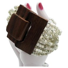 Gorgeous Multi Strand White Translucent AB Glass Beaded Vintage Bracelet Natural Wood Oversized Closure