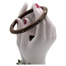 Vintage Art Deco Era Citrine Rhinestone Brown Celluloid Bangle Bracelet