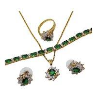 Yummy Vintage Parure of Emerald Faux Diamond CZ Necklace Ring Bracelet Pierced Earrings~UNWORN