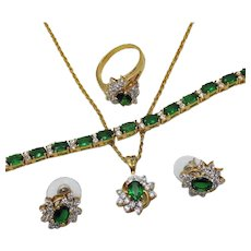 Yummy Vintage Parure of Emerald Faux Diamond CZ Necklace Ring Bracelet Pierced Earrings~UNWORN FREE SHIPPING