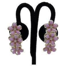 Gorgeous Pink Thermoset Vintage Triple Flower Rhinestone Clip Earrings Unworn!