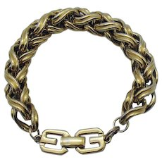 Chic Signed Givenchy Italian Gorgeous Vintage Hefty 18K Gold Plated Bracelet FREE SHIPPING
