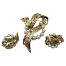 Gorgeous Signed Crown Trifari Vintage Mid Century Modern Golden Pearl Brooch Clip Earrings Set