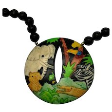 Unusual Signed Taiwan ROC Vintage Lucite Safari Animal Beaded Necklace