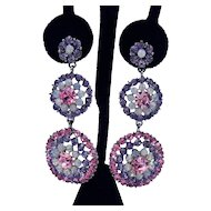 Gorgeous Super Sparkling Vintage Pierced Earrings Purple Pink Faux Opals 2 3/4 Long!