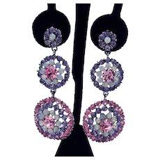 b23300bfc Gorgeous Super Sparkling Vintage Pierced Earrings Purple Pink Faux Opals 2  3/4 Long!