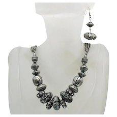 Chunky Vintage Silver Metal Etruscan Style Rhinestone Necklace Pierced Earrings Set