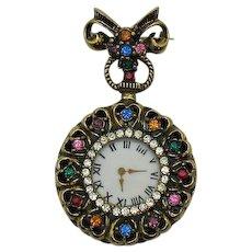 Victorian Revival Vintage Faux Watch Brooch Rhinestones Hearts