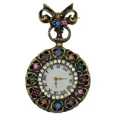 Victorian Revival Vintage Faux Watch Brooch Rhinestones Hearts FREE SHIPPING
