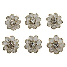Unusual Vintage Faceted Glass Rhinestone Flower Buttons Set of 6