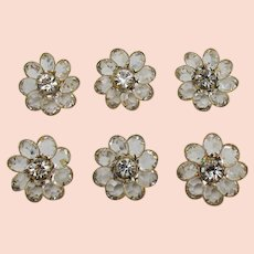 Unusual Vintage Faceted Glass Rhinestone Flower Buttons Set of 6 FREE SHIPPING