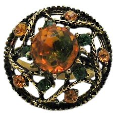 Unusual Vintage Emerald Green Citrine Glass Rhinestone Dome Ring Costume Jewelry