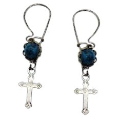 Petite Vintage Sterling Silver 925 Cross Pierced Earrings Glass Turquoise Cabochons