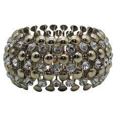 Big Bold Vintage Bezel Set Rhinestone Gold Plated Stretch Bracelet 134 Grams!