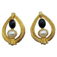 Bold Signed Avon Vintage Golden Faux Onyx Pearl Pierced Earrings