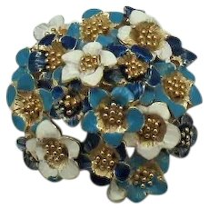 Signed Boucher 3737 Vintage Enameled Pop Up Brooch Violet Flower Series