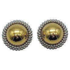 Huge Vintage Mixed Metal Beaded Clip Earrings