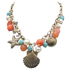 Beautiful By the Sea Vintage Glass Charm Necklace