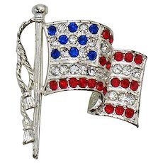 Signed Napier Vintage Rhinestone American Flag Brooch