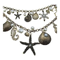 Double Strand Figural Sea Creature Vintage Charm Necklace FREE SHIPPING