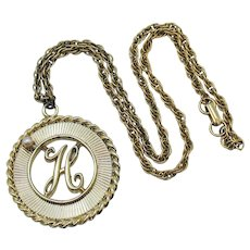 Signed House of Schrager 1958 Vintage Initial H Charm Necklace Faux Pearl