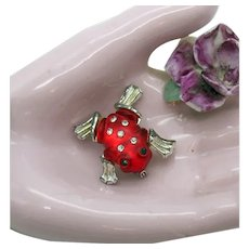 Vintage 1930s Red Lucite Jelly Belly Encrusted Rhinestone Figural Frog Brooch FREE SHIPPING