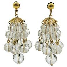 Vintage Faceted Crystal Lucite Beaded Chandelier Pierced Earrings
