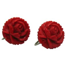 Early Vintage Red Rose Celluloid Screw Back Earrings