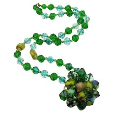 Unique Vintage Signed West Germany Green Art Glass Lucite Beaded Necklace