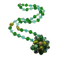 Unique Vintage Signed West Germany Green Art Glass Lucite Beaded Necklace FREE SHIPPING