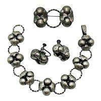 Rare Pre Eagle Mexican Sterling Silver Los Coco Design Vintage Parure Bracelet Brooch Earrings