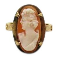 Gorgeous Signed ROmano 14K Gold Italian Made Vintage Genuine Cameo Ring FREE SHIPPING
