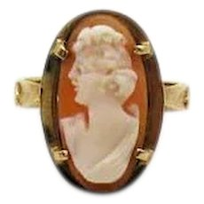 Gorgeous Signed ROmano 14K Gold Italian Made Vintage Genuine Cameo Ring