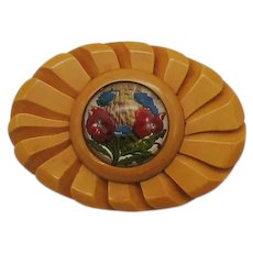 Carved Butterscotch Bakelite Vintage 1930s Reverse Painted Glass Flower Brooch