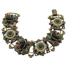 Gorgeous Vintage Victorian Revival Book Chain Renaissance Style Bracelet
