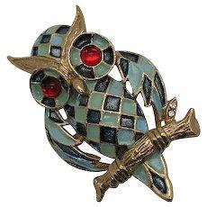 Adorable Figural Vintage Enameled Owl Brooch Big Red Glass Eyes
