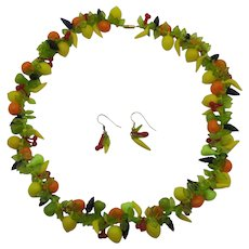Unique Vintage Lucite Fruit Salad Necklace Pierced Earrings Set