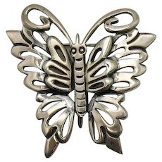 Signed 925 Mexico Vintage Figural Butterfly Brooch