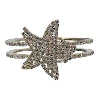 Fun Vintage Crystal Pava Rhinestones Figural Starfish Clamper Bracelet FREE SHIPPING