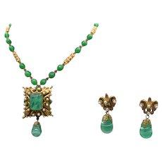 Signed Florenza Peking Art Glass Extraordinary Vintage Necklace Convertible Brooch Earrings Set