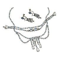 Gorgeous Vintage Parure Milk Glass Rhinestone Swag Necklace Bracelet Earrings Set