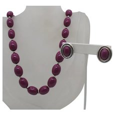 Signed Monet Vintage Sangria Colored Beaded Lucite Necklace Earrings Set FREE SHIPPING