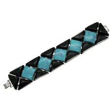 Bold Lucite Faux Turquoise Onyx Vintage Flexible Link Bracelet 82 Grams!