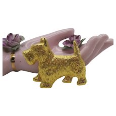 Signed Paquette Heavy Textured Golden Vintage Figural Scotty Dog Brooch
