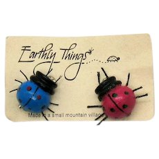 Unusual Vintage Figural Lady Bug Brooches by 'Earthly Things' Hand Crafted Wooden Mexican Folk Art Brooches