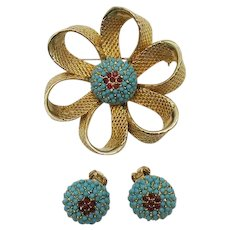 Unique Bold Golden Brooch Clip Earrings Set Turquoise Glass Red Rhinestones